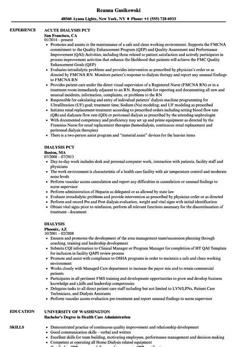 Dialysis Resume Samples | Velvet Jobs