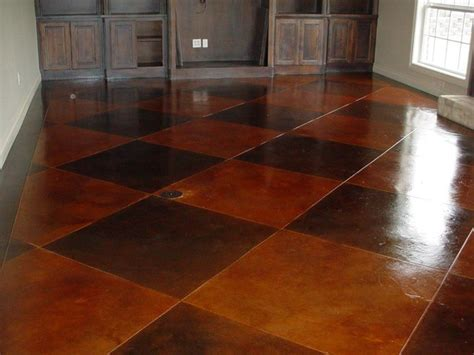 Stained concrete scored pattern   Traditional   Living