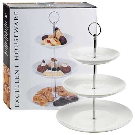 layer tier ceramic white  serving display cakes platter food stand rack ebay