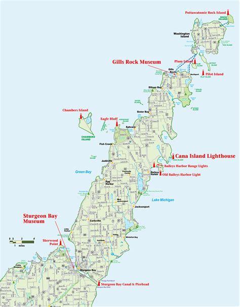 map of door county wi more door county lighthouses door county maritime museum