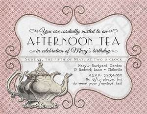 printable tea party birthday invitation 425 x by cyanandsepia With morning tea invitation template free