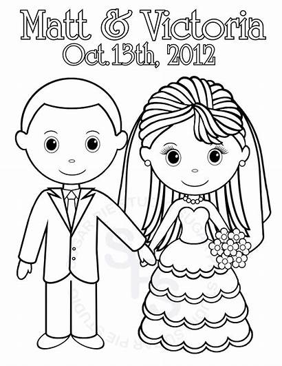 Coloring Pages Printable Groom Bride Personalized Activity