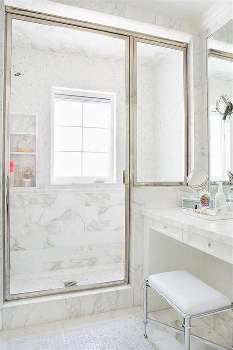 shaped kitchen  gray  white marble slab backsplash transitional kitchen