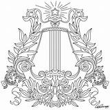 Coloring Harp Sheets Printable Therapy sketch template