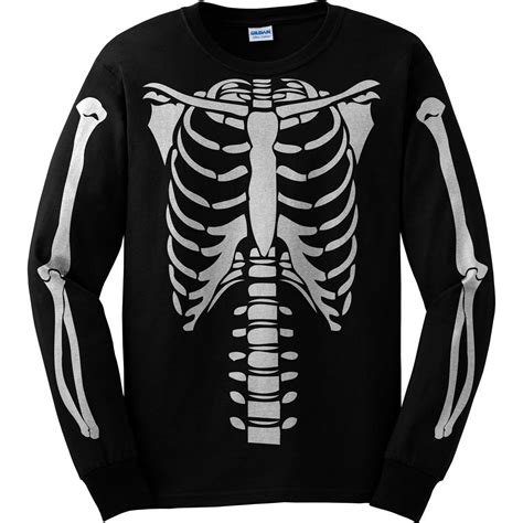 Skeleton Shirt Skeleton Torso Sleeve Costume T Shirt Front