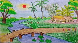 Beautiful Nature Drawing For Kids Beautiful Village ...