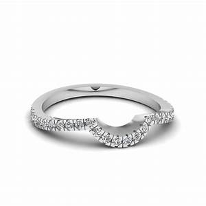 Pave curved diamond womens wedding band in 14k white gold for Wedding band rings for women