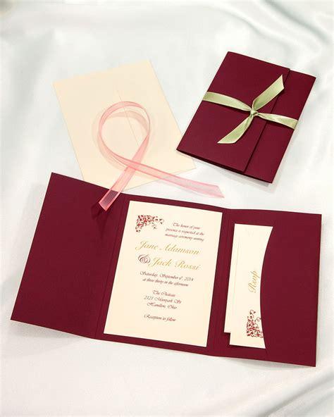 Burgundy Pocket Folder Wedding Invitations, Burgundy