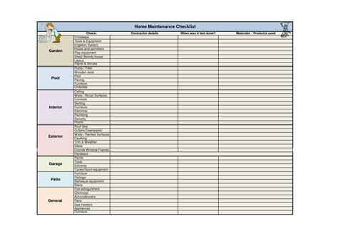 home repair checklist template 5 best images of home maintenance checklist printable car maintenance checklist sheet home