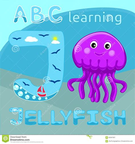 jellyfish letter  uppercase font  cute happy