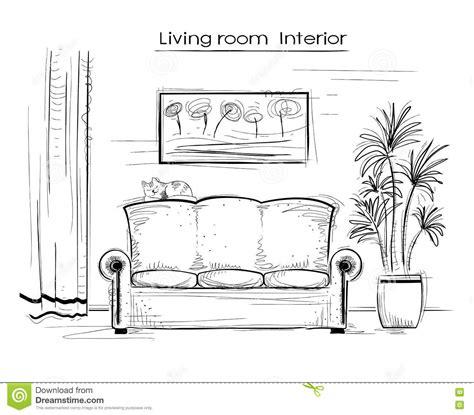 living room drawing sketchy interior illustration of living room vector