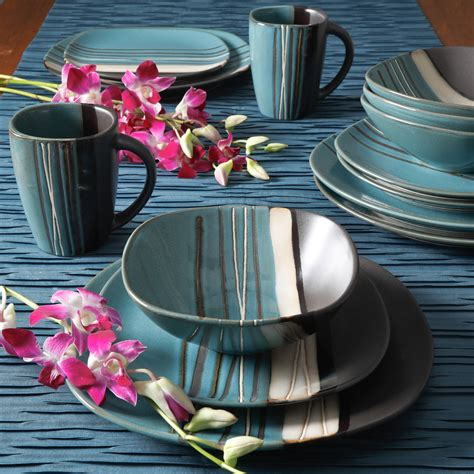 Better Homes And Garden Dishes by Better Homes And Gardens Bazaar Teal 16 Dinnerware