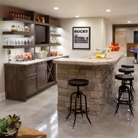 Decorating Ideas For Kitchen Bar by Transitional Bar With Stacked Island And Open