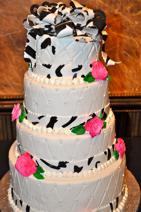 leahs sweet treats zebra print wedding cake