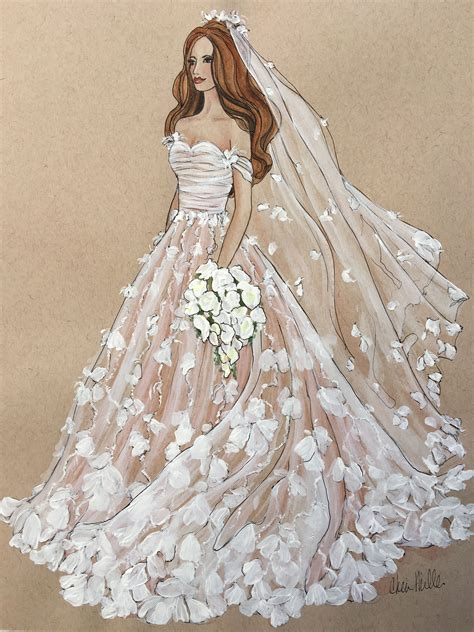 Marchesa Bridal illustration by Cheri Miller For