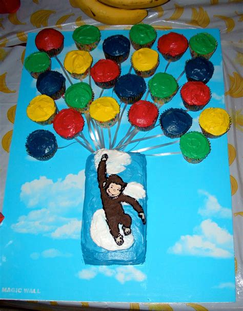 curious george cake     small loaf pan  piped