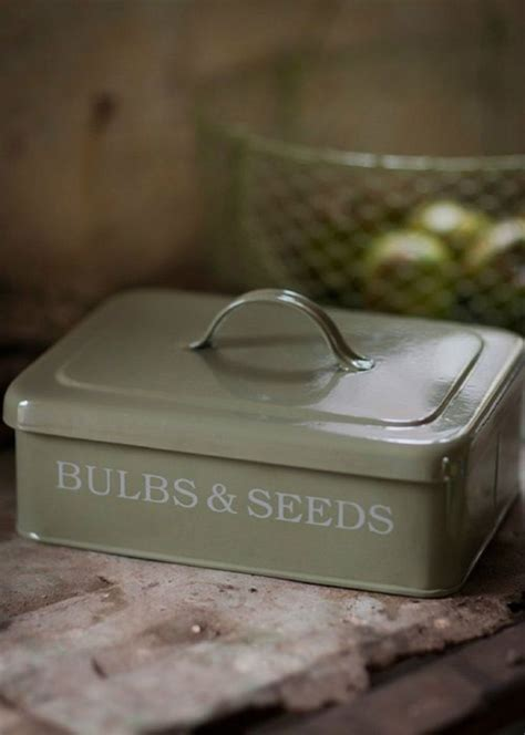 large bulb seed storage box metal container gardeners