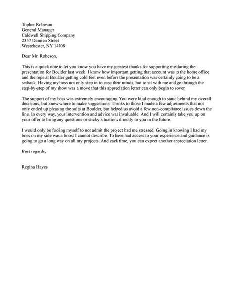 appreciation letter  boss ideas
