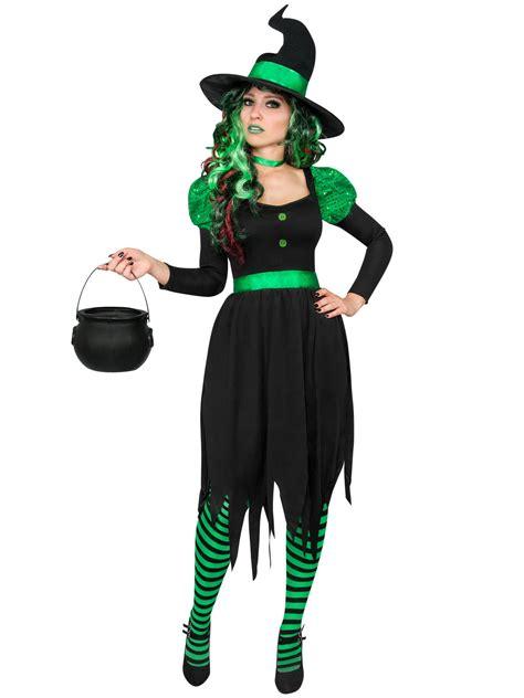gruene hexe damenkostuem maerchen schwarz gruen guenstige