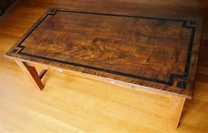 oak woodgrain painted coffee table with macassar ebony With inlaid wood coffee table