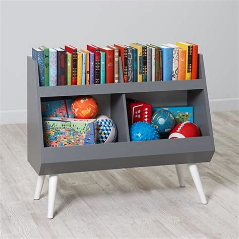 white childrens bookshelf next chapter modern bookcase grey white the land of nod 1014