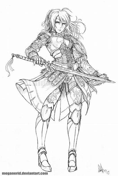 Warrior Coloring Female Deviantart Pages Lineart Meganerid