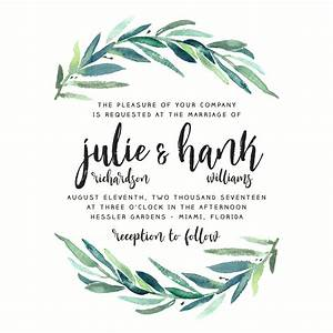foliage wedding invitation modern calligraphy brush With wedding invitation brushes free