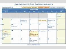 Calendario Junio 2018 para imprimir Argentina