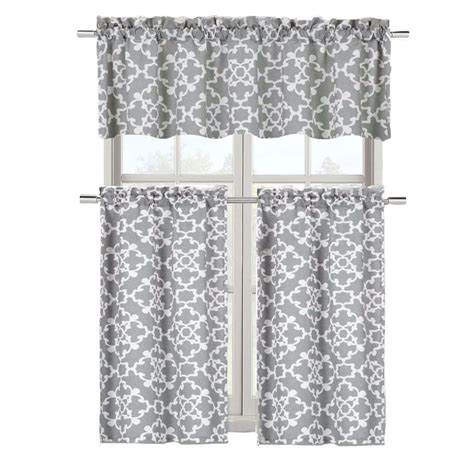 grey shabby  piece kitchen curtain tier valance set ebay