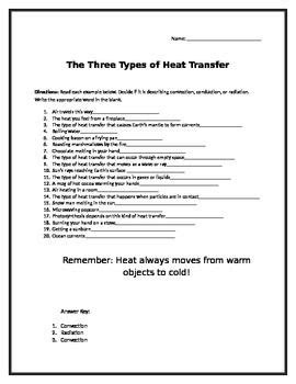 this worksheet includes 20 different scenarios of heat transfer students are asked to decide if