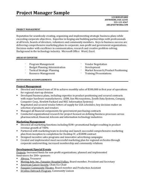 project manager resume resume sles better written