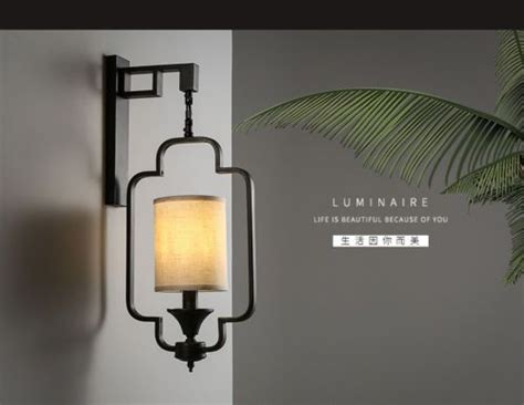 asian coutry style linen shade wall sconce metal frame