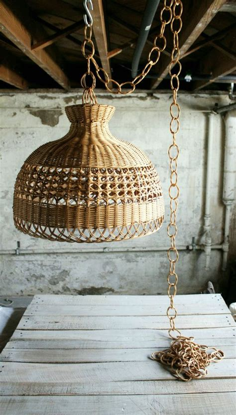 Wicker Chandelier L Shades by Vintage Wicker Hanging Light Shade With Chain Home Decor