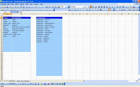 free check register excel bank account template