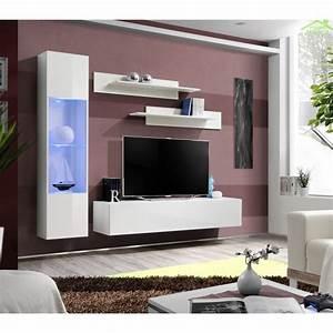 Meuble Tv Suspendu But : ensemble meuble tv mural fly g de haute brillance avec led ~ Teatrodelosmanantiales.com Idées de Décoration