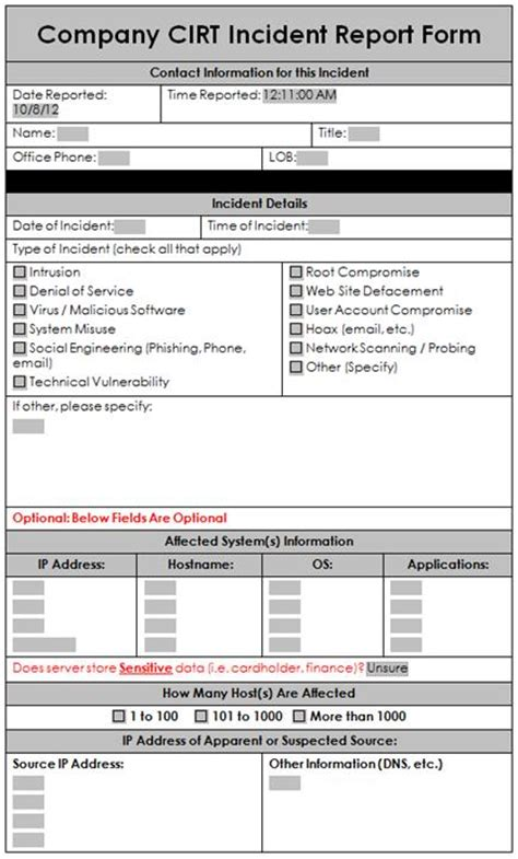 sample incident response report form enterprise