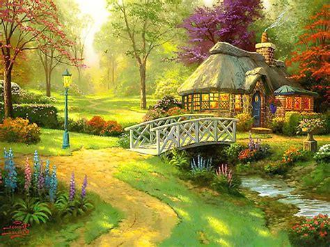 beautiful english bridge cottage garden wallpapers