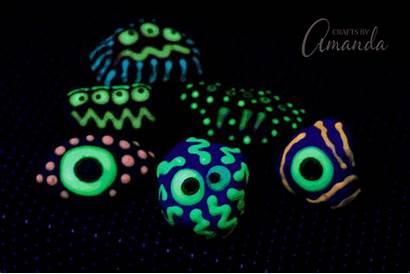 Glow Dark Monster Rocks Craft Paint Painted