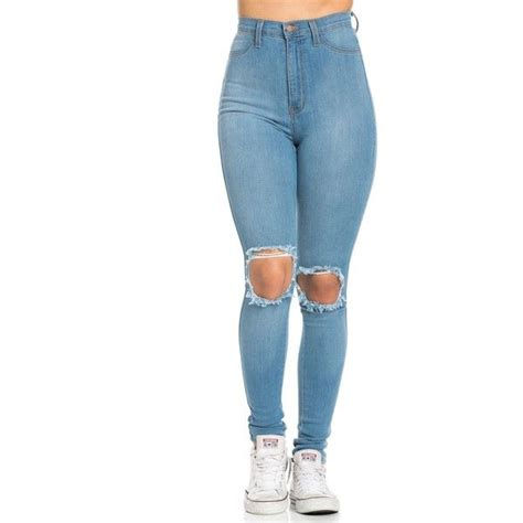 ripped for light blue ripped knee high waisted in light blue