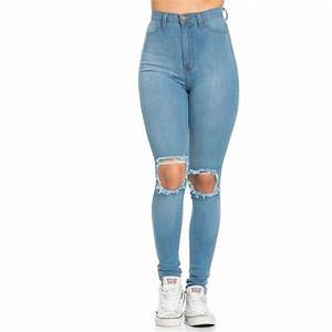Ripped Knee Super High Waisted Skinny Jeans in Light Blue ...