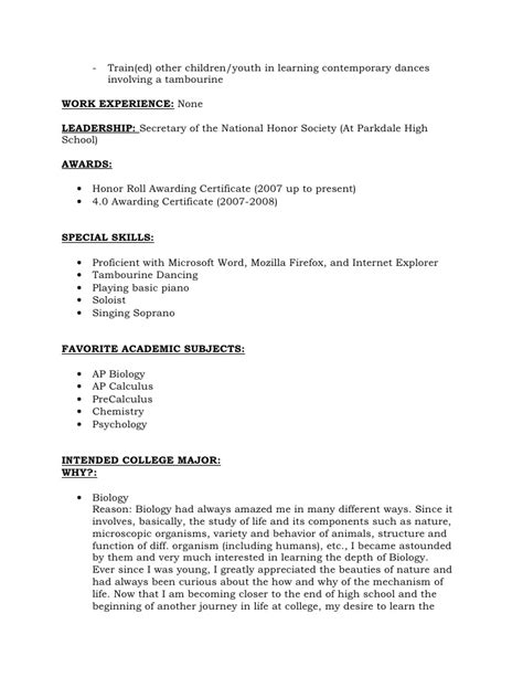 Leadership Resume For High School by Resume Format For Recommendations