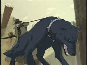 Blue and Black Anime Wolf in the Rain