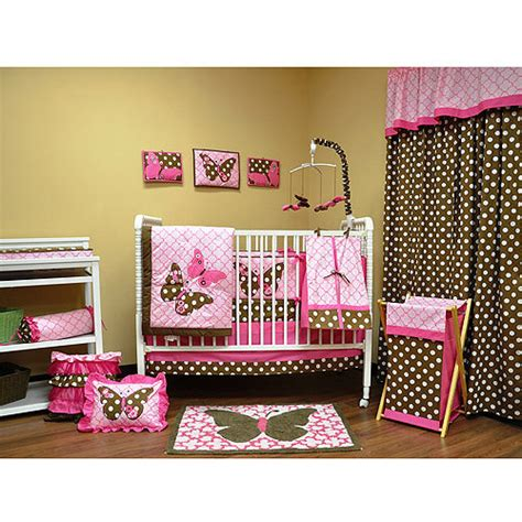 bacati butterflies pink choco 10pc nursery in a bag crib