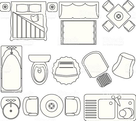 canapé dwg simple furniture floor plan set2 stock vector