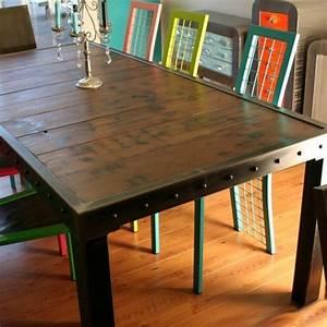 Table Haute Industrielle : table salle manger bois et pieds m tal table design ~ Melissatoandfro.com Idées de Décoration
