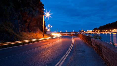Nature, Landscape, Road, Street Light, Night Wallpapers Hd