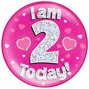 2nd Birthday Pink Holographic Jumbo Badge Pageant party