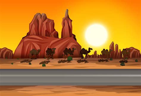 desert sunset road scene   vectors clipart