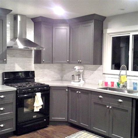 images of gray kitchen cabinets grey cabinets black appliances silver hardware full