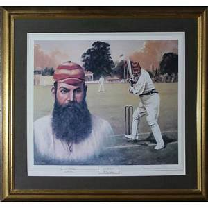 w g grace legends of cricket series print framed
